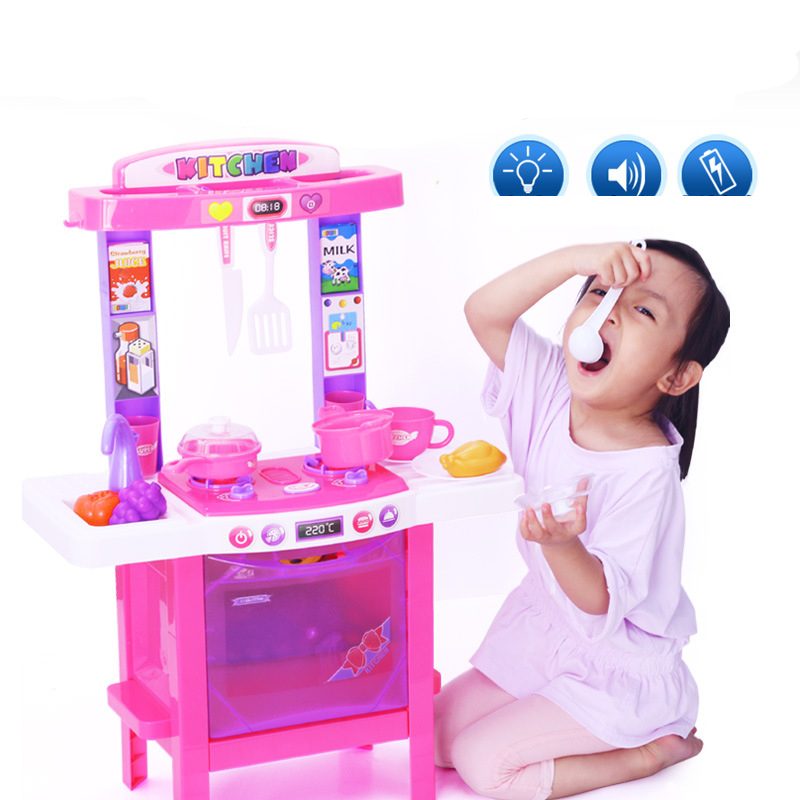 BOWA 7001 Kids Simulation Kitchen Toys Children Toys With Light And Music